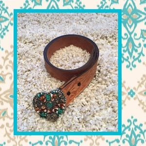 Accessories - 🎊HP🎊💙turquoise/brown heart belt buckle💙
